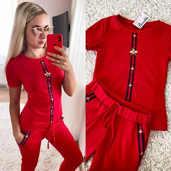GUCCI Summer Popular Women Casual Short Sleeve Round Collar Top Pants Set Two Piece Sportswear Red