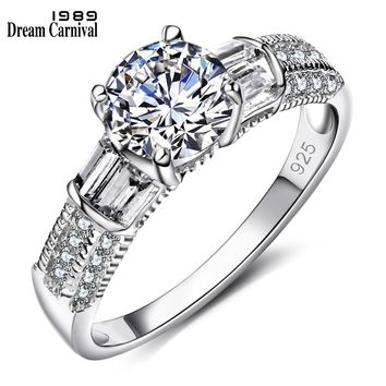 DreamCarnival 1989 True Anniversary Look Cubic Zircon Jewelry 925 Silver AAA Quality Luxury Women Bridal Engagement Ring SJ21141