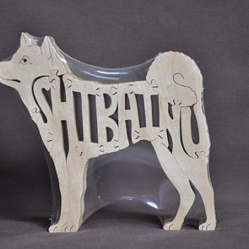 Shiba Inu or Mame Shiba  Dog Puzzle Wooden Toy Hand Cut with Scroll Saw