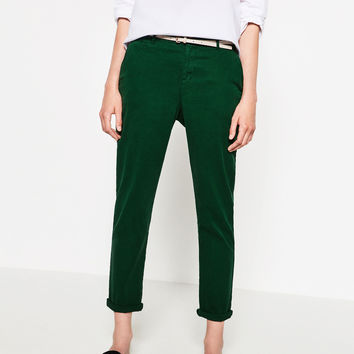 CHINOS WITH BELT DETAILS
