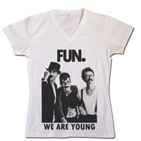 FUN - We are young with mustache - Rock Pop Band Billboard Singer Womens Digital to Garment Printed T Shirt (More Color in listing S, M, L)