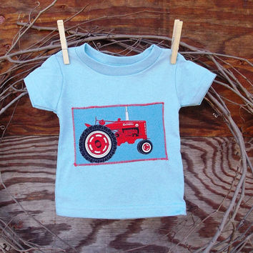 Baby Boys T Shirt Light Blue,  Tractor, 6 months or 12 months