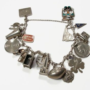 Sterling Silver Charm Bracelet, 20 Charms, Travel Charms, High School Charms, Enamel Charms, Zuni Charm, Vintage Jewelry, Movable Charms