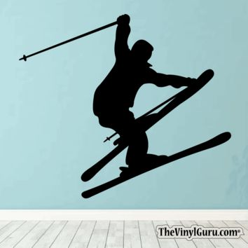 Skiing Wall Decal - Ski Sticker #00014