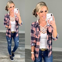 Penny Plaid Flannel Top -Pink/Blue