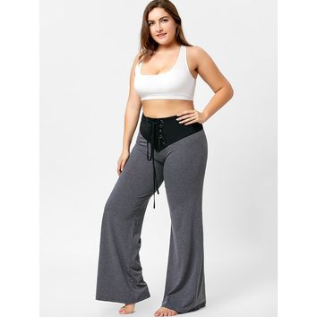 Two Tone Plus Size Lace-up Flare Pants New 2018 Women Trouser Loose Fitness Sports Workout Pants Yoga Belly Dance Pants Femme
