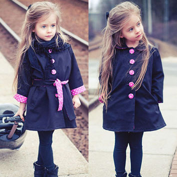 2-7Y Child Girls Kids Fashion Cute Jacket Trench Coat Slim Outwear Outfits Tops