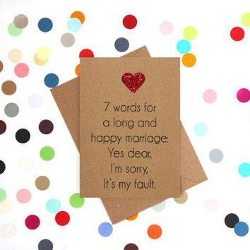7 Word For A Long And Happy Marriage Funny Happy Wedding Day Card Getting Married Card Engagement Card FREE SHIPPING