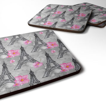 Watercolor Pink Flowers Eiffel Tower Foam Coaster Set of 4 BB7503FC