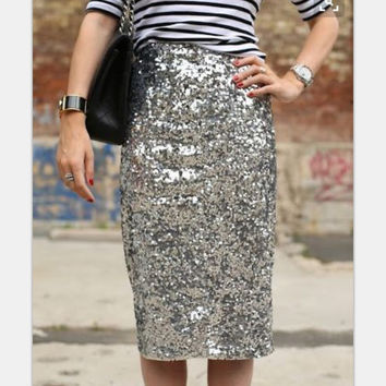 Women Bling Sequin Skirt 2016 Fashion Midi Skirt High Waist Bodycon One-Step Party Skirts For Women Plus Size
