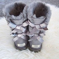 UGG Autumn Winter Popular Classic Women Men Warm Two Bowknot Shoes Boots Half Boots Shoes Gray I/A