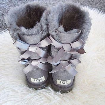 UGG Bow Leather New Fashion Shoes Keep Warm Boots Winter Half Boots Shoes