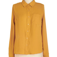 ModCloth Mid-length Long Sleeve Button Down Downright Adorable Top