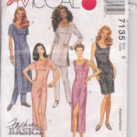 Pattern for semi-fitted sheath dress knee or calf length or tunic with tapered leg pants misses size 6 McCalls 7135 UNCUT