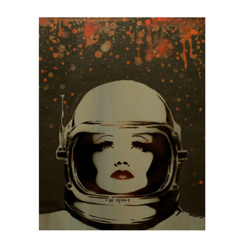 Graffiti Street Art Inspired Sci Fi Portrait 16 x 20 Painting AD ASTRA Comicon Art Female Astronaut Fantasy Artwork on Canvas