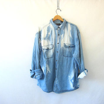 vintage distressed jean shirt. bleached out denim shirt. button down shirt. pocket shirt.
