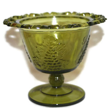 Indiana Glass Candy Dish, Trinket Dish, Vase With Grape Design, collectible Vintage, Home decor
