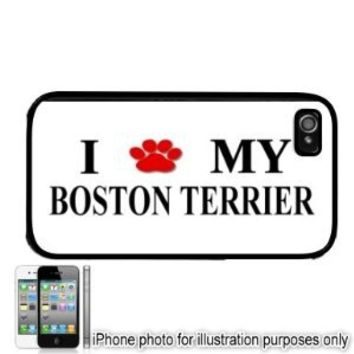 Boston Terrier Paw Love Dog Apple iPhone 4 4S Case Cover Black