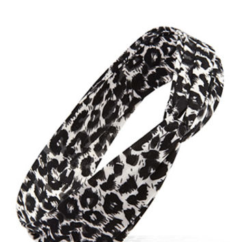 FOREVER 21 Knotted Leopard Print Headwrap Cream/Black One