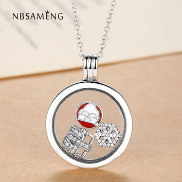 100% 925 Sterling Silver Mini DIY Crystal Charms Bead Necklace Floating Locket Glass Pendant Berloque