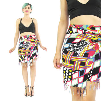80s 90s Abstract Mini Skirt Vintage Sarong Skirt Colorful Print Wrap Mini Skirt Summer Beach Skirt Plus Size Tassel Fringe Skirt (L/XL)