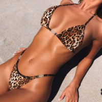 Summer New Fashion Leopard Print Straps Two Piece Bikini Swimsuit