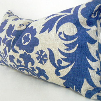 Blue Lumbar Pillow, Blue Gray Decorative Throw Pillow Cover 12x22  Inch, Rustic Pillow, Suzani,