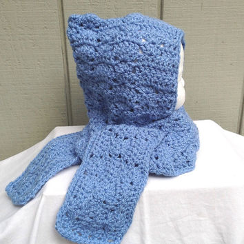 Childs hooded scarf - 12 to 24 months - Toddler hat and scarf - Girls accessories - Crocheted hooded scarf