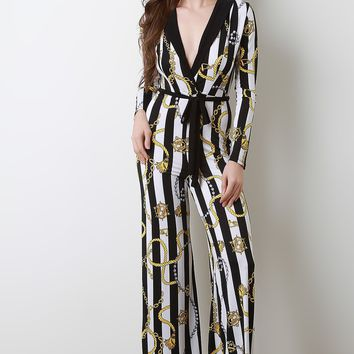 Striped Rope With Chain Printed Jumpsuit