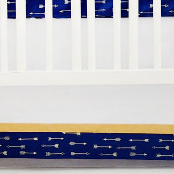 Go Your Own Way Navy & Gold Crib Skirt