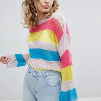 ASOS DESIGN stripe jumper in open knit at asos.com