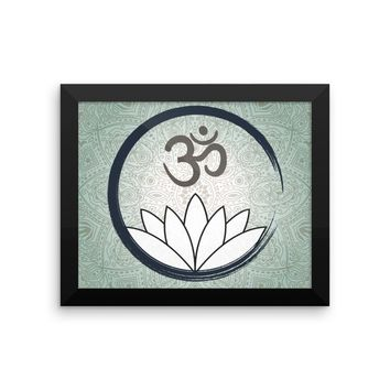 Framed Ohm Mandala Art Print Neutral Colors Yoga Ohm Symbol With Lotus