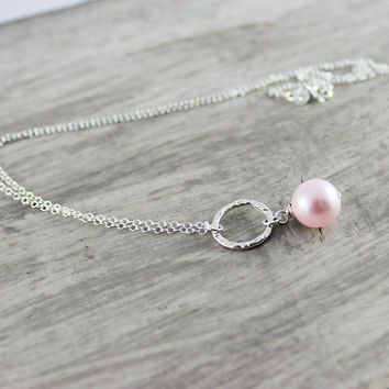 Pink Pearl Necklace, Sterling Silver Necklace, Circle Necklace, Pendant Necklace, Delicate Chain Necklace, Light Blush Rose Pink Necklace