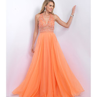 Preorder - Intrigue by Blush 162 Orange Low Back Long Chiffon Dress 2016 Prom Dresses