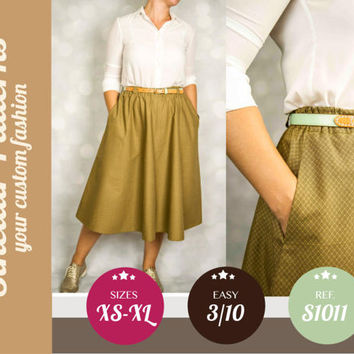 Skirt with pockets pdf sewing pattern with step by step sewing tutorial (easy/beginners) XS/S/M/L/XL