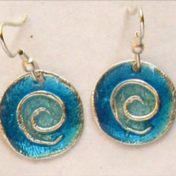 Colored Handcrafted Pewter Earrings w/Spiral