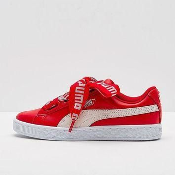 Best Deal Puma Suede Heart Satin II Bow tie Sneakers Women Fashion shoes 364082-01-02