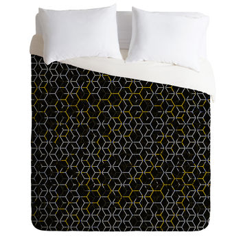 Caleb Troy Black And Yellow Beehive Duvet Cover