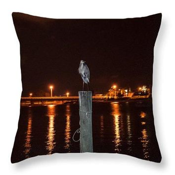 Blue Heron Night - Throw Pillow
