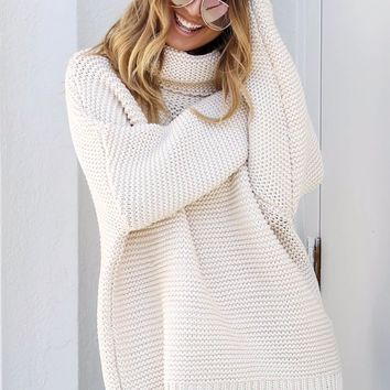 My Kinda Cozy Cream Chunky Turtle Neck Sweater