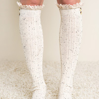 Knee High Ruffled Lace Socks - Ivory