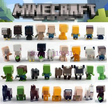 36pcs/lot Minecraft More Characters Hanger Action Figure Toys Cute 3D Minecraft Models Games Collection Toys #E