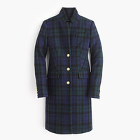 J.Crew Womens Regent Topcoat In Black Watch Flannel