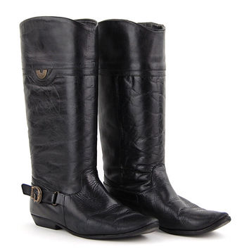 Vintage Black Leather Worn In Knee High Slip On Cowgirl Boots / Size US 9 EU 39