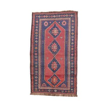 "Vintage Tribal Boho Afghan Rug Red and Blue Hand Woven 3' 11"" X 7' 1"""