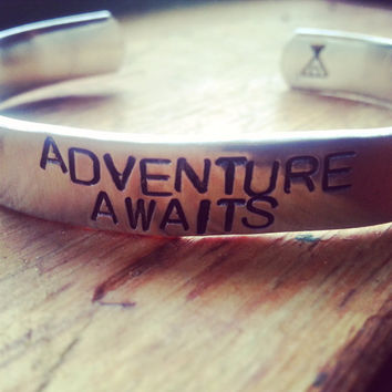 Adventure awaits , camping tent hand stamped inside   3/8 wide aluminum bracelet