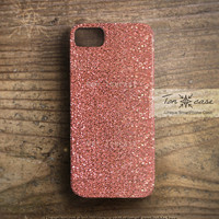 iPhone 4 case - iPhone 4s case, iPhone 5 case, High quality 3D printing, indian pink, spangle - peach glitter fabric (c81)