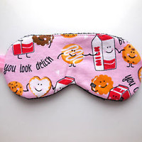Sleep Eye Mask Shade Gift Night Blindfold Nap Pink Black Blindfold Cookies Milk