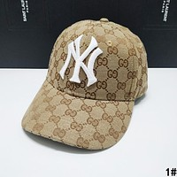 GUCCI x NY x LA Summer Hot Sale Women Men Sports Sun Hat Baseball Cap Hat 1# Khaki
