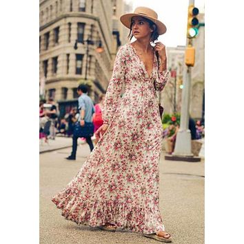 Cascading Ruffle Flower Printing Maxi Dress